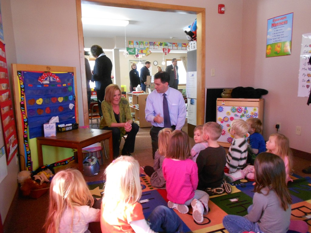 Stacy Johnson and Gov Walker with children